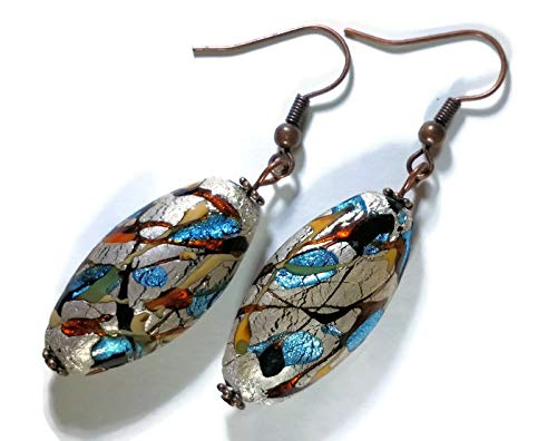 Handcrafted Bohemian Style Paint Splatter Earrings Hypoallergenic Niobium Ear Wires -