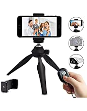 IbestonPhone Tripod, Lightweight Tabletop Tripod for iPhone Samsung Cellphone Camera DSLR Gopro with 360 Rotating Metal Ball Head & Universal Phone Mount Holder & Wirless Remote Control