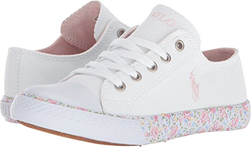 (Polo Ralph Lauren Kids Girl's Slone (Little Kid) White Canvas/Light Pink Pony Player/Printed Floral Foxing 12 M US Little Kid)
