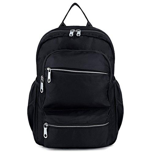 UTO mochila para laptop Oxford impermeable tela Nylon Unisex mochila escuela de la universidad Bookbag bolsa de viaje bolsa de hombro Negro_4