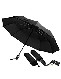 Automatic 10 Ribs Travel Umbrella Windproof - Giwil Folding Umbrella with 210t Fabric Teflon, One Hand Operation, Lightweight and Compact, Fast Drying, for Men, 42inch 16.6OZ Black