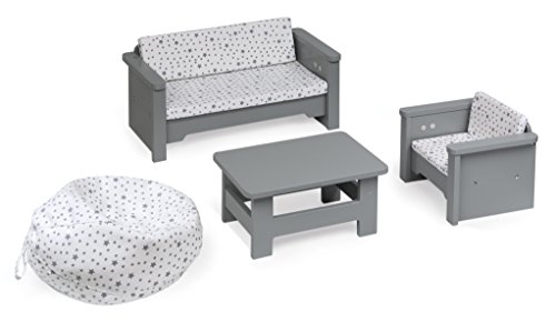 Badger Basket 6 Piece Living Room Furniture Play Set for 18 Inch (fits American Girl Dolls), Gray/White