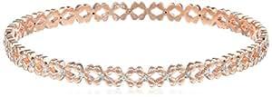 18k Rose Gold Over Sterling Silver Bangle Bracelet (1/10 Cttw, I-J Color, I2-I3 Clarity)