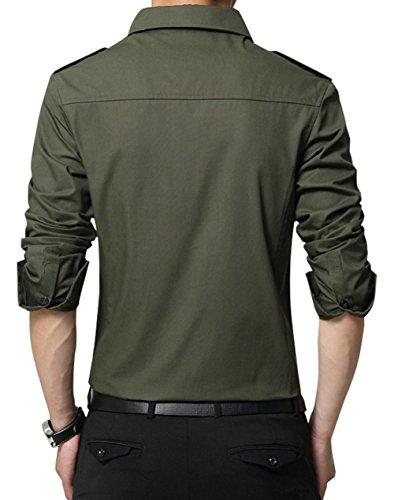 XTAPAN Men's Casual Slim Fit Shirt Cotton Long Sleeve Button Down Dress Shirt 6