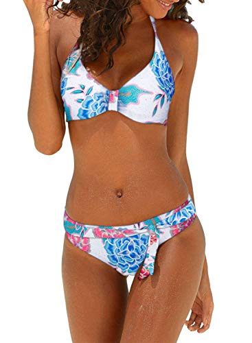 Dokotoo Womens Fashion Beach Push Up Backless Padded Floral Print Bandeau Brazilian Sexy Bikini Set Halter Bathing Suit 2 Piece with Swim Briefs Swimsuit Swimwear X-Large