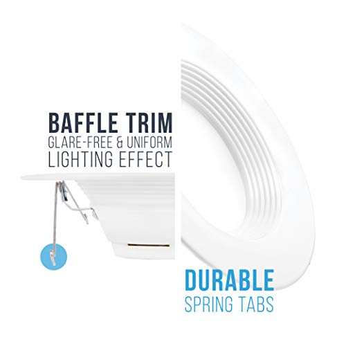 Parmida (12 Pack) 5/6 inch Dimmable LED Retrofit Recessed Downlight, 15W (120W Replacement), Baffle Metal Design, 1000lm, 4000K (Cool White), Energy Star & ETL, LED Ceiling Can Light, LED Trim by Parmida LED Technologies (Image #6)