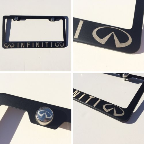 """Matte Black Laser Engraved Infiniti Stainless Steel USA License Plate Frame With Engraved Steel Logo Screw Cap Combo 12.25"""" x 6.5"""""""
