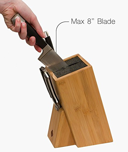 MyHomeIdeas Universal Bamboo Knife Block Stand - Wood Holder Safe Storage Space-Saver Organizer with Dishwasher Safe Removable Bristles - Eco-Friendly - Home & Kitchen (no Shelf) by MYHOMEIDEAS (Image #3)