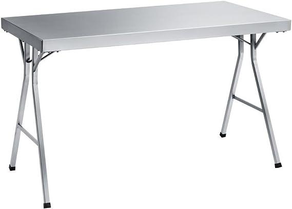 Mesa plegable de acero inoxidable, inoxidable, 120 x 85 x 70 cm: Amazon.es: Hogar