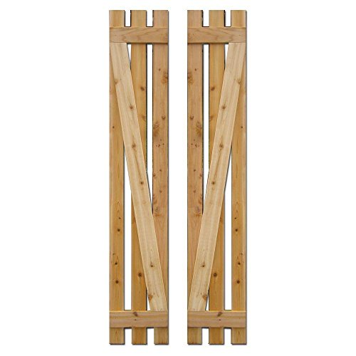 Shutters Exterior Faux - Baton Spaced Z Board and Batten Shutters 12 in. x 60 in. (Natural Cedar) Pair