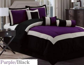 bed in a bag king comforter sets Amazon.com: 7 Pc Modern Hampton Comforter Set BLACK / PURPLE bed  bed in a bag king comforter sets