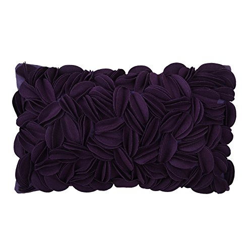 (KingRose 3D Hand Woven Personalized Throw Pillow Covers Wool Rectangle Decorative Cushion Cases for Bed Living Room 12 x 20 Inches Purple)