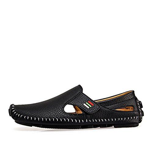 de para Hombre Verano conducción 2 de Hombres Verano Cuero Black Mocasines Grandes Zapatos de Lujo de Hombre de los de Slip Zapatos On Casual Calzado Resorte Mocasines de Tallas qAwYXWxP6