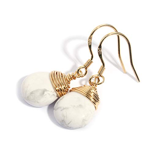 Scutum Craft Natural Stone Wire Wrap Dangle Drop Earrings Gold Plated 925 Sterling Silver Hook Jewelry for Women (White howlite Water Drop)