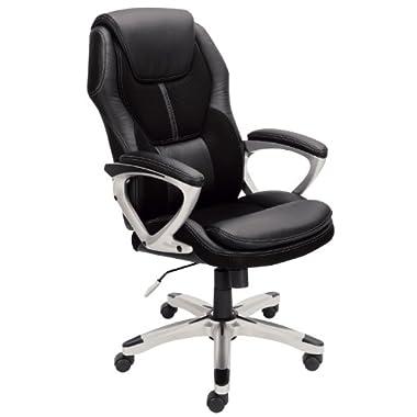 Serta 43673 Faux Leather & Mesh Executive Chair, Black