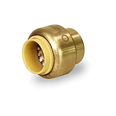 Everflow Pushlock Push-Fit Stop End UPSE12 1/2 Inch, Instant Push-Fit Connection Connects Copper Tubing, CTS CPVC & PEX Pipe in any Combination Compact, Brass Body Foundation