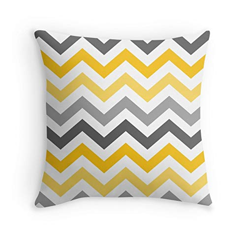 Yellow Gold Grey Chevron Pattern for Sofa Couch Living Room Bed Decorative