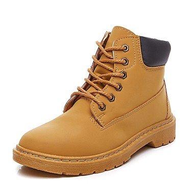 RTRY Zapatos De Mujer Otoño Invierno Pu Microfibra Sintético Bota De Combate Botines Botas Botas/Botines De Casual Marrón Negra US5.5 / EU36 / UK3.5 / CN35