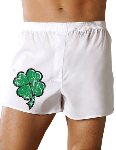 Cartoon Shamrock Clover - St Patricks Day Boxers Shorts - White - 2XL (Shamrock Boxer Shorts)