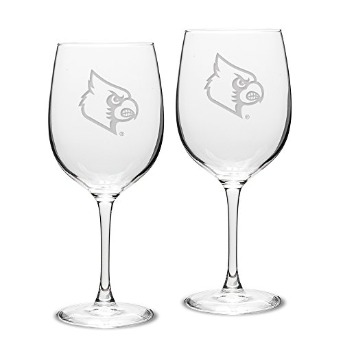 University Glass NCAA Louisville Cardinals 19 oz Robusto Red Wine Glasses Deep Etch Engraved, One Size, Clear