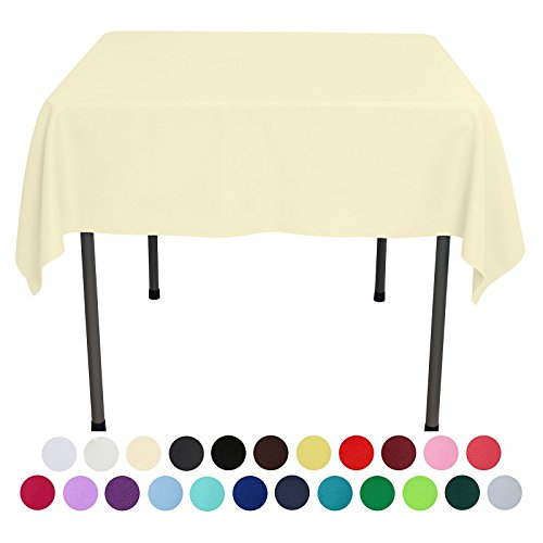 VEEYOO 54 inch Square Solid Polyester Tablecloth for Wedding Restaurant Party, Light - Chart Light Black Color