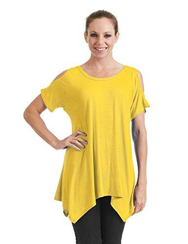 rnia CTC WT1070 Womens Round Neck Short Sleeve Open Shoulder Top XXL Yellow (California Yellow T-shirt)