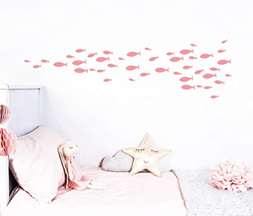 77Pieces/Set Fish Wall Decal,Removable Vinyl Stickers for Kids Baby Bedroom, Bathroom,Nursery Decoration(A05) (Soft Pink)