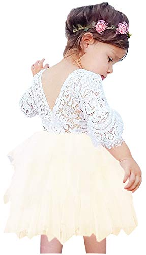 - 2Bunnies Girl Beaded Peony Lace Back A-Line Tiered Tutu Tulle Flower Girl Dress (Ivory Bell Sleeve, 6 Months)