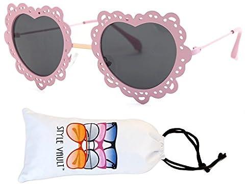 Wm543-vp Style Vault Heart Sunglasses (T2503H Pink/gold-dark, uv400)