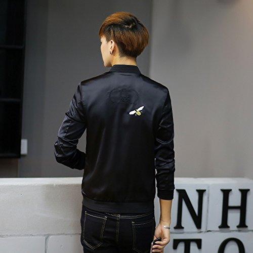 primavera un abeja de de negro adelgazar coreana de otoño simulacro Chaqueta Men's marea de Hombre hombres XXXXL bordada chaqueta versión cuello macho T y shirt baja 6fxqwEzF