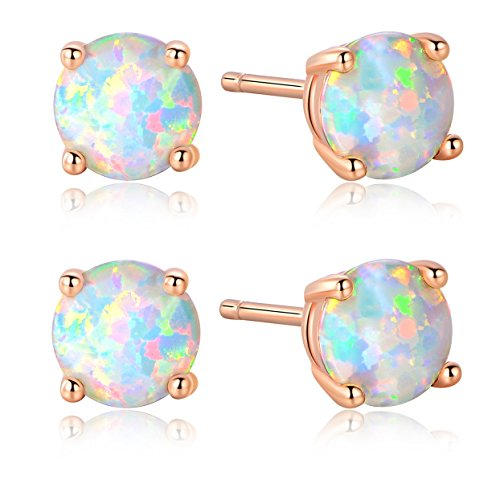 GEMSME Pack of 2 18K Rose Gold Plated Opal Stud Earrings 6MM Round For Women