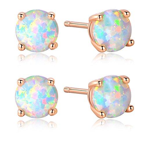 GEMSME Pack of 2 18K Rose Gold Plated Opal Stud Earrings 6MM Round For Women (18k White Gold Earing)