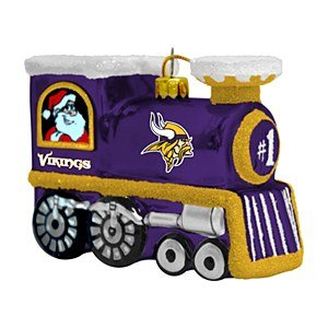 NFL Minnesota Vikings Blown Glass Train Ornament