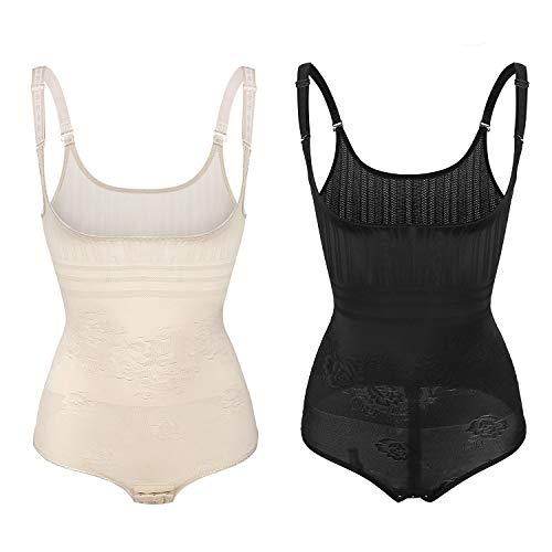 Sunzel Women's Body Briefer Smooth Wear - Your Own Bra Slimmer Shapewear Bodysuits (XX-Large, Black+Beige) ()