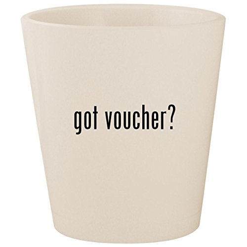 got voucher? - White Ceramic 1.5oz Shot Glass