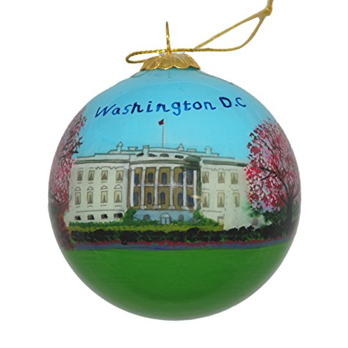 Hand Painted Glass Christmas Ornament - Washington D. C. - White House with Cherry
