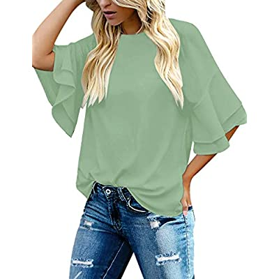 luvamia Women's Casual 3/4 Tiered Bell Sleeve Crewneck Loose Tops Blouses Shirt at Women's Clothing store