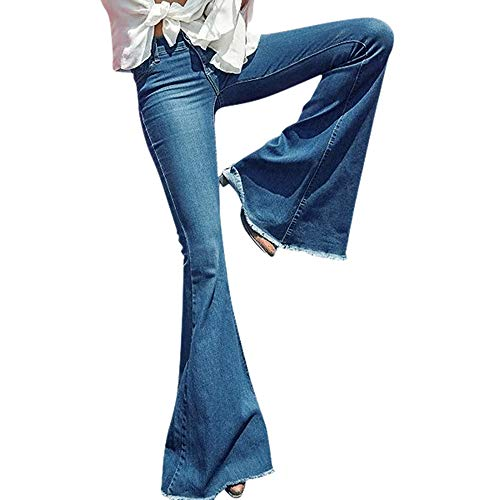 POQOQ Jeans Pants Women Daily Hight Waisted Wide Leg Denim Stretch Slim Length S Blue for $<!--$15.30-->