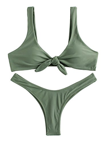 SweatyRocks Women's Sexy Bikini Swimsuit Soild Color Tie Knot Front Thong Bottom Swimwear Set Green -