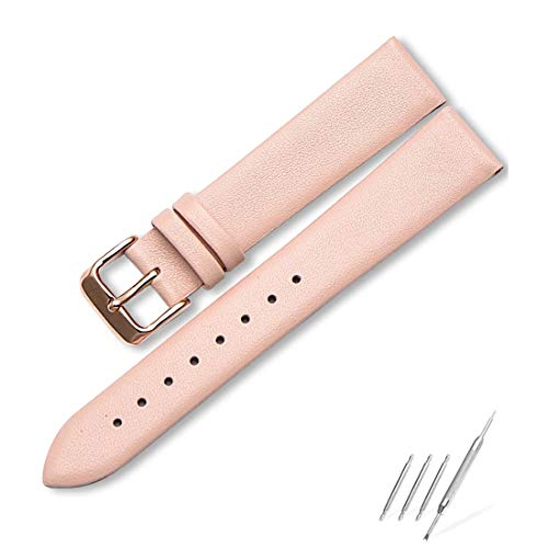 - Women's Leather Watch Bands, 20mm Watch Straps Easy Interchangeable Watch Band, Quick Release Pin, Rose Gold Buckle, Fits Many Brands