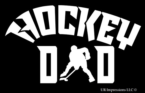 UR Impressions Hockey Dad Decal Vinyl Sticker Graphics for Cars Trucks SUV Vans Walls Windows Laptop White 7.5 X 4.3 Inch URI315