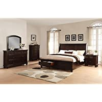 Roundhill Furniture Brishland Storage Bedroom Set Includes Queen Bed, Dresser, Mirror, Nighstand and Chest, Rustic Cherry