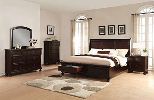 Roundhill Furniture Brishland Storage Bedroom Set Includes King Bed, Dresser, Mirror, Nighstand and Chest, Rustic Cherry