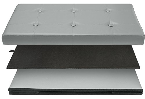 Sorbus Storage Bench Chest – Collapsible/Folding Bench Ottoman with Cover – Perfect Hope Chest, Pouffe Ottoman, Coffee Table, Seat, Foot Rest, and more – Contemporary Faux leather (Medium, Gray) by Sorbus (Image #5)