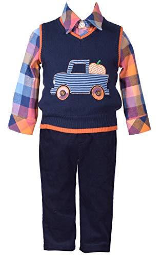 Bonnie Jean 3 Piece Sweater Vest with Truck Applique Shirt and Pants Set 4T