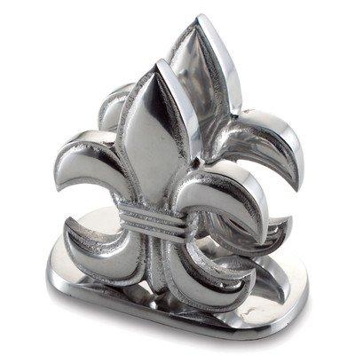 KINDWER Elegant Fleur-De-Lis Napkin Holder, Silver