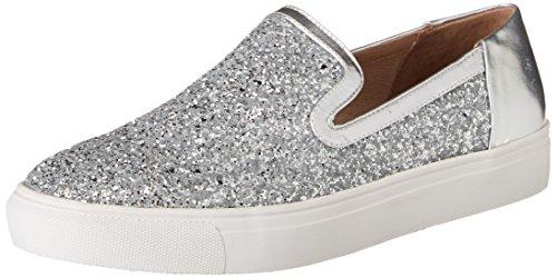 STEVEN by Steve Madden Womens Kenner Fashion Sneaker Silver Glitter