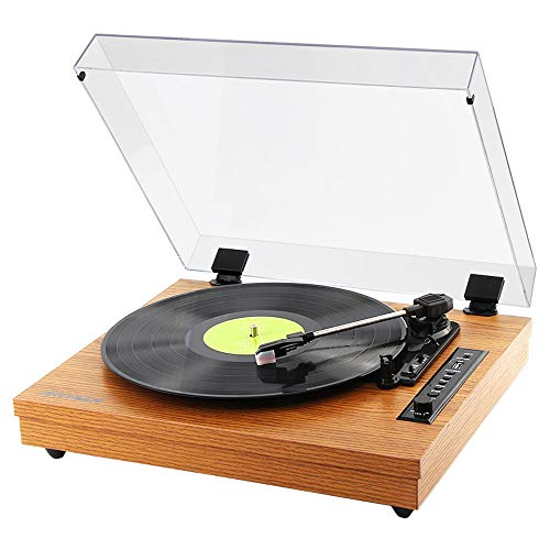 (Archeer Vintage Bluetooth Vinyl Turntable Record Player with Built-in Stereo Speaker, 3-Speed Belt Drive, Vinyl-to-MP3 Recording, RCA Output, Big Size - Camel)