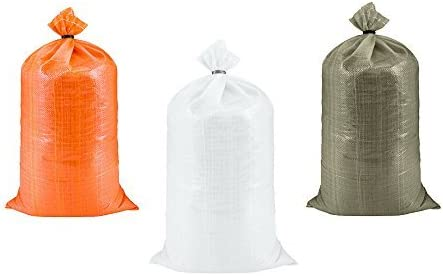 10 Pack 15 x 27, Ties Included Heavy Duty Empty White Woven Polypropylene Sandbags for Flood Control