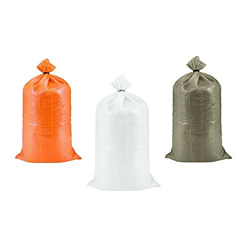 SGT KNOTS Poly Sand Bags for Flood Control (14 in x 26 in - 100 pack) - Polypropylene Sandbags for Flooding - Reusable Empty Sand Bag to Weight with Sand - Heavy Duty Barrier Sandbag Weights (White) by SGT KNOTS